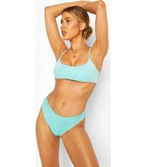 mix & match high waist bikini brief, blue