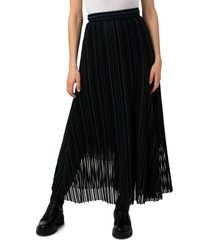 women's akris embroidered stripe wool & cotton blend tulle skirt, size 8 - blue