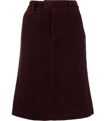 a.p.c. high-waisted midi skirt - red