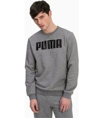 essentials fleece crew neck sweater voor heren, grijs/heide, maat m | puma