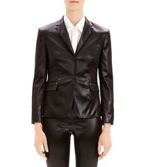 shrunken vegan leather blazer