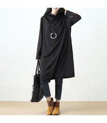 zanzea 2017 nuevos dos de manga larga de color dobladillo irregular o-cuello de alta calidad de la manera informal de gran tamaño vestido de la vendimia vestido de medio negro -negro