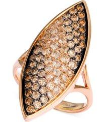 le vian soufflee diamond leaf statement ring (1-5/8 ct. t.w.) in 14k rose gold