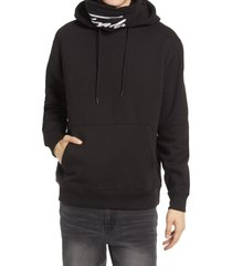 topman men's signature embroidered funnel neck hoodie, size x-large in black at nordstrom