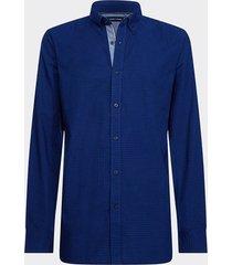 camisa slim indigo gingham shirt azul tommy hilfiger