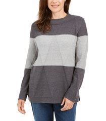 karen scott grace colorblocked sweater, created for macy's