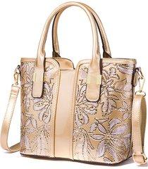 borsa a tracolla tote grande capacità donna in vernice paillettes borsa