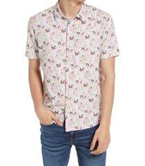 men's good man brand flex pro slim fit print short sleeve button-up shirt, size xx-large - white