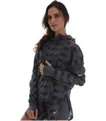 jaqueta corta-vento com capuz nike hd air - feminina - cinza escuro