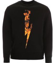 neil barrett thunderbolt flames sweatshirt
