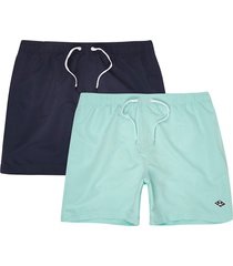 river island mens navy and mint blue swim shorts 2 pack