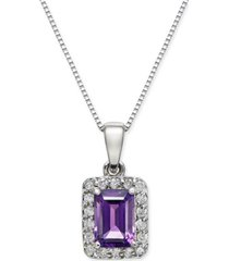 "amethyst (1 ct. t.w.) & diamond (1/6 ct. t.w.) 18"" pendant necklace in 14k white gold"