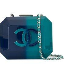 chanel pre-owned 2014 structured gradient shoulder bag - blue