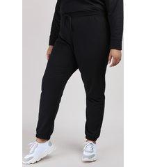 calça de moletom feminina plus size mindset jogger cintura alta preta