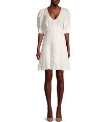 parker women's kierra linen-blend button-front dress - ivory - size 0