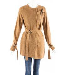 jonathan simkhai brown wool knit strap cardigan brown sz: xs