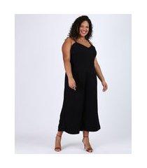 macacão feminino plus size pantacourt com bolsos alça fina preto