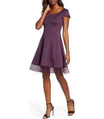 women's donna ricco lace trim fit & flare dress, size 16 - purple