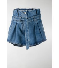 the attico high waist belted denim shorts