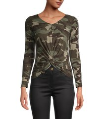 love ady women's front-twist camouflage top - army camo - size s