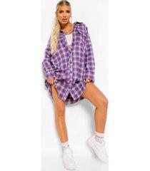 plus geruite boyfriend blouse jurk, purple