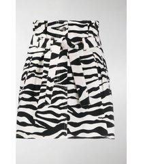 the attico zebra print paperbag waist skirt