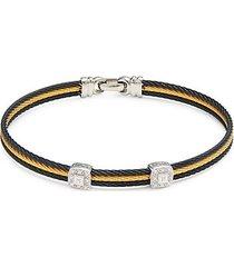 18k white gold, stainless steel & diamond bracelet