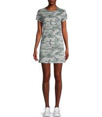 knit riot women's camo-print t-shirt dress - grey camouflage - size m