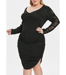 plus size hollow out sleeve high low hem pleated t-shirt