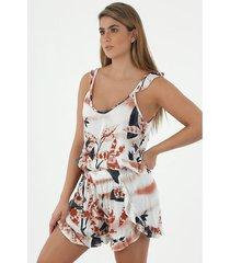 conjunto de pijama para mujer tennis, con estampado de orquideas rojas
