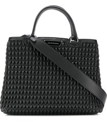 emporio armani teardrop quilted tote bag - black