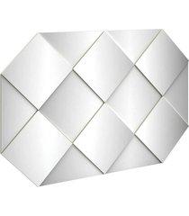 painel decorativo 127,5cm c/ espelho off white dalla costa - off-white - dafiti