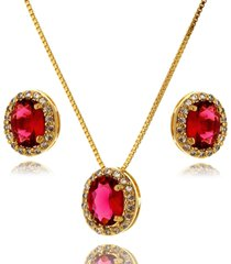 conjunto lua mia joias oval pink com zircônias banho ouro