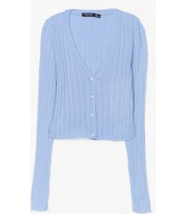 womens drop of heaven pearl button-down cardigan - pale blue