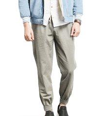 estilo casual causal gris con cordón wasit pocket diseño harem para hombres pantalones