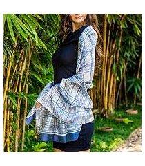rayon and silk blend shawl, 'grey plaid batik' (thailand)