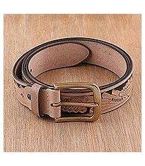men's leather belt, 'buff leaves' (india)