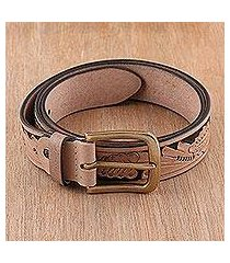 men's leather belt, 'buff leaves' (india)
