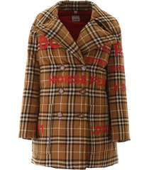 burberry tartan puffer jacket with print