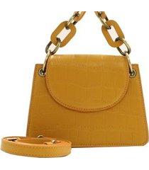 mini bolsa croco fashion birô feminino