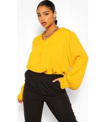 plus ruffle collar longsleeve blouse, mustard