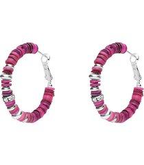 orecchini a cerchio in ottone rodiato con elementi in conchiglia fucsia e strass chiusura in argento per donna