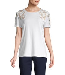 floral embroidered short-sleeve top