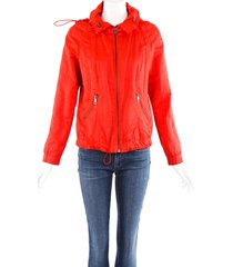burberry london red cotton zip hooded jacket red sz: s