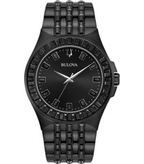 bulova men's phantom black stainless steel bracelet watch 42mm