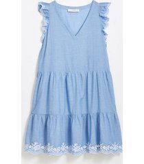 loft petite embroidered chambray flutter dress