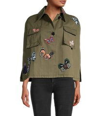 butterfly patch cargo cape jacket