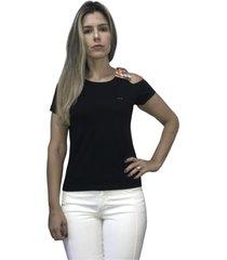 camiseta hifen com abertura no ombro preto - preto - feminino - algodã£o - dafiti