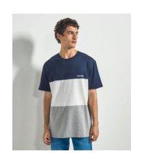 camiseta com recortes e estampa good vibes   blue steel   azul   m