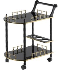 bold tones wood serving bar cart tea trolley with 2 tier shelves and rolling wheels